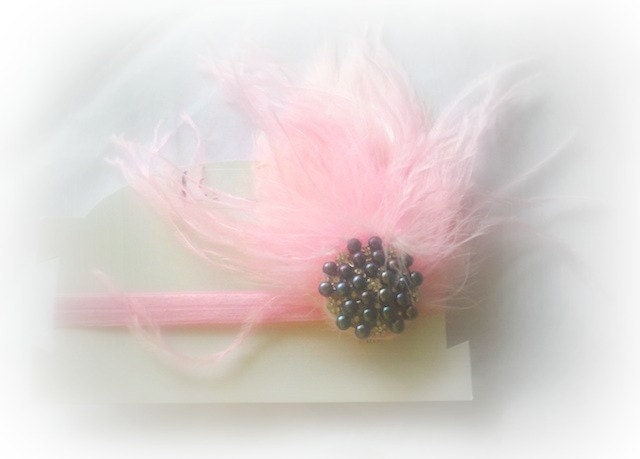 Pink Black Pearl Swarovski Crystal Bling Hair Clip Elastic Headband Feathers Glam Diva Fits Ages Newborn through Adults