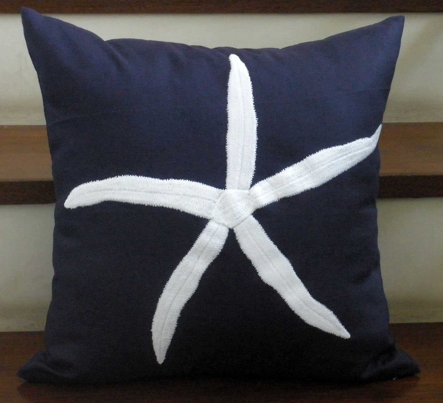 Navy Blue Linen and Nautical White Star Fish  Embroidery Pillow Cover
