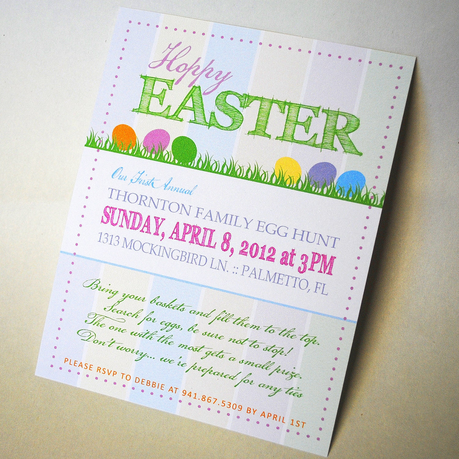 Hoppy Easter, Egg Hunt Invitation with pastel background and colorful eggs - Custom, Personalized and Printable - LisaKaydesigns
