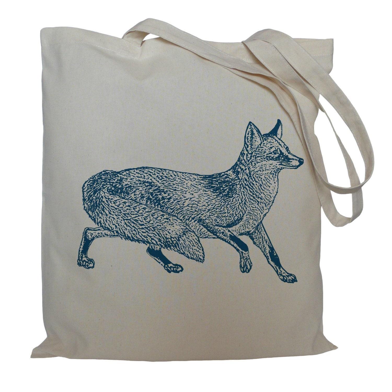 Tote bag drawstring bag blue fox cotton bag material shopping bag animal shoe bag market bag