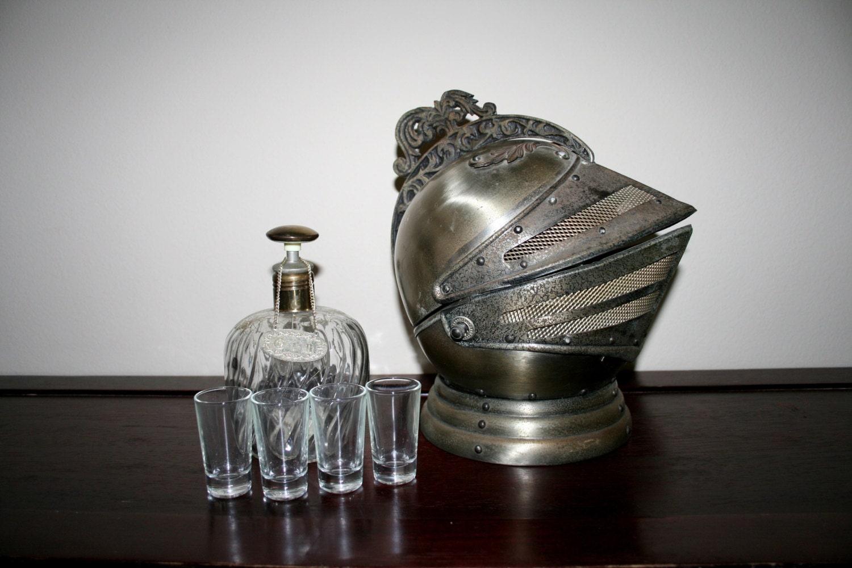 Vintage MEDIEVAL Knights Helmet Bar Set // By SugarWolf909
