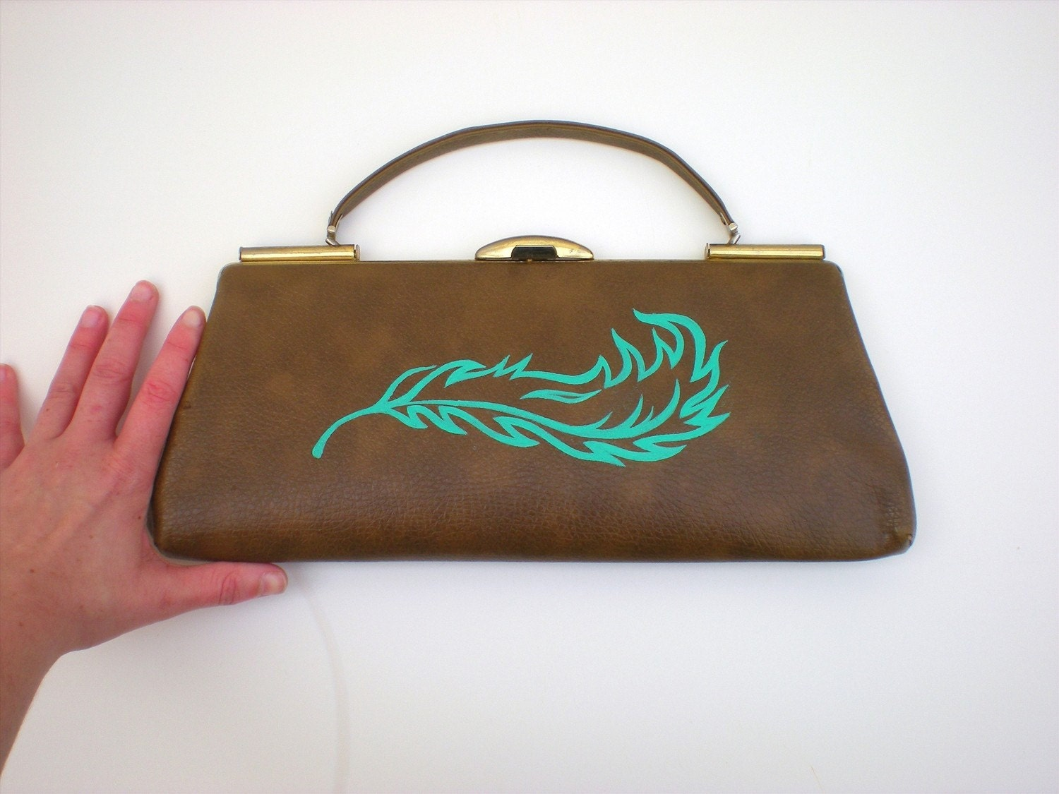 Vintage Brown Clutch with Handpainted Teal Feather
