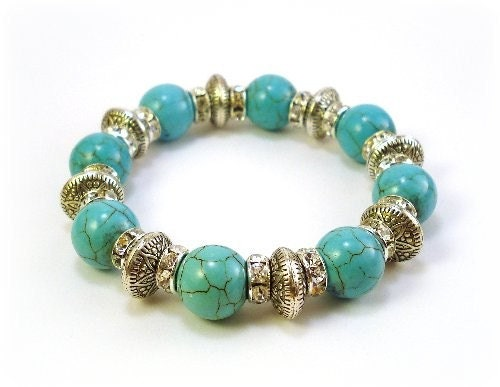 Stretchy Silver Turquoise Beaded Bracelet...Free Shipping