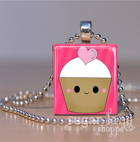 Kawaii Cupcakes in Love (Pink) Scrabble Tile Pendant Necklace with Chain