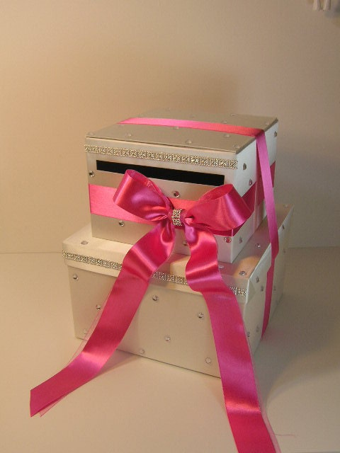 Ivory And Hot Pink Wedding Card Box Gift Card Box By