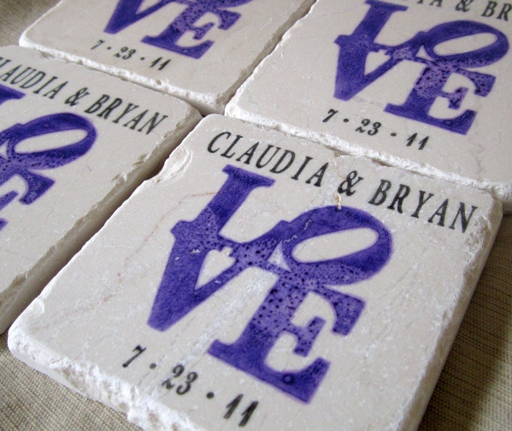 Purple love statue wedding favor coasters set of by mylittlechick