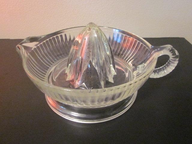 Glass Citrus Juicer Electric ~ Art deco lemon juicer pressed glass citrus by