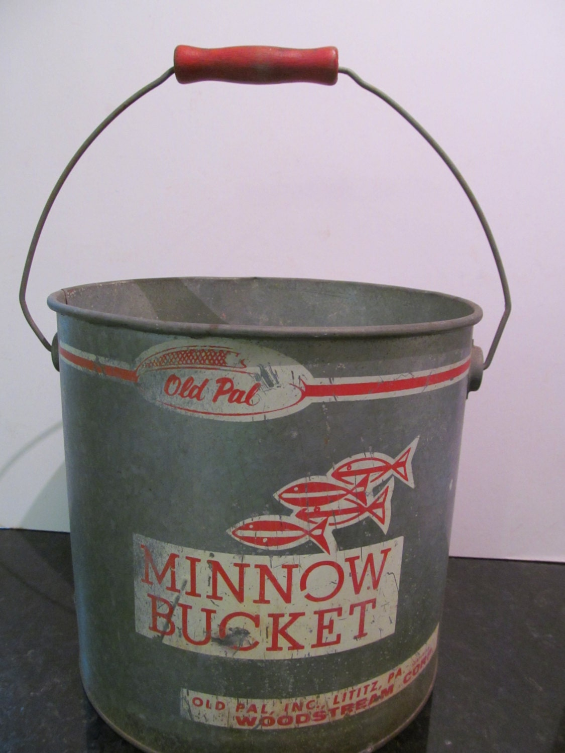 Vintage Old Pal Minnow Bucket with Red wood Handle by Mumscottage