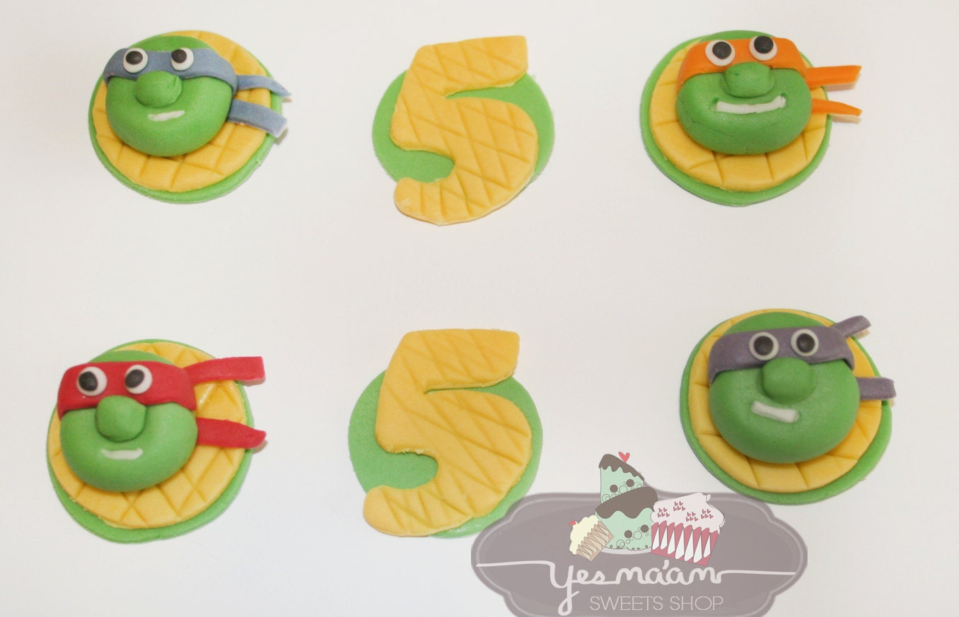 12 Teenage Mutant Ninja Turtle Fondant Cupcake Toppers