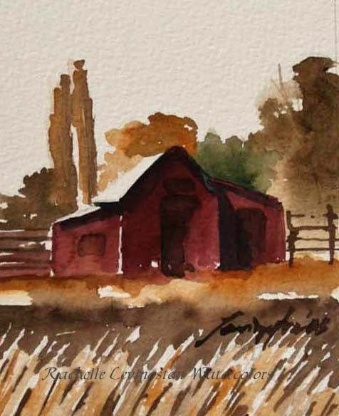 Study for Fall Barn I original watercolor 3 1/2 x 5 inches