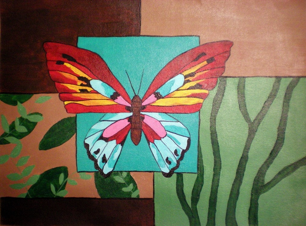 Butterfly on Squares ORIGINAL 12X16