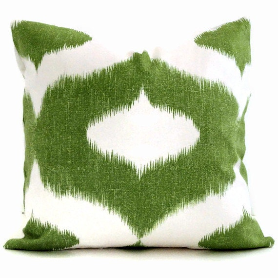 Duralee green and white ikat decorative pillow cover by for Green and white throw pillows