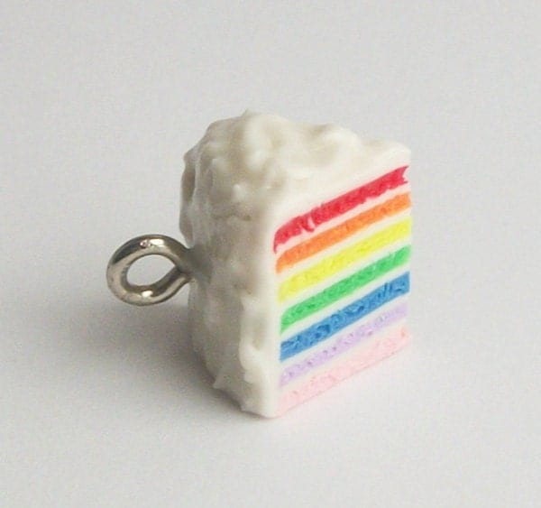 Rainbow Cake Charm with Lanyard of Your Choice Color
