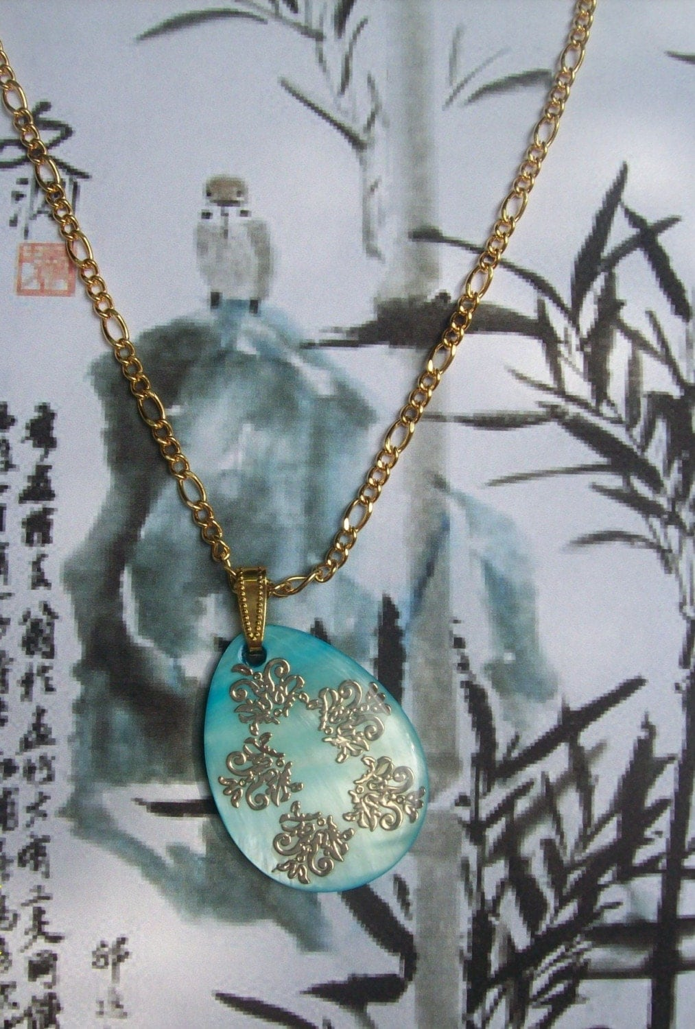 SALE In the Orient- Shell Pendant Necklace