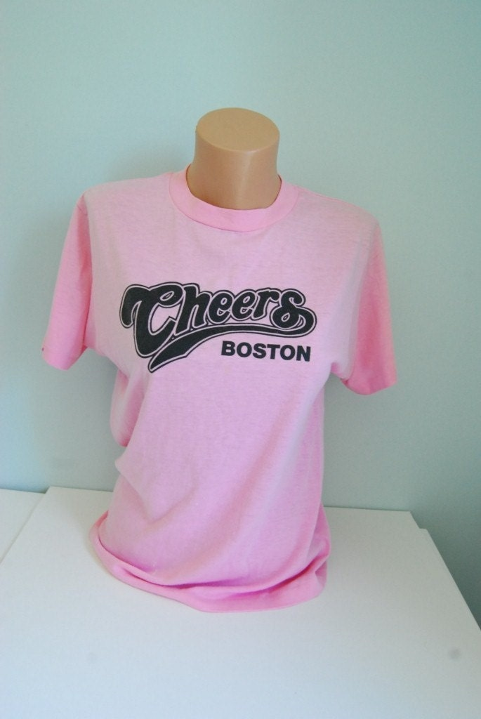 Vintage Cheers TShirt Boston Bar Pink Super Soft n Thin Tee SMALL