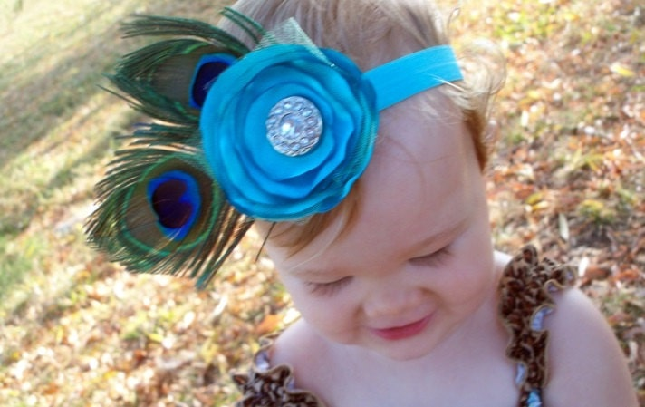 Turquoise Flower Couture Feather Headband ... Baby, Toddler, Big Girl