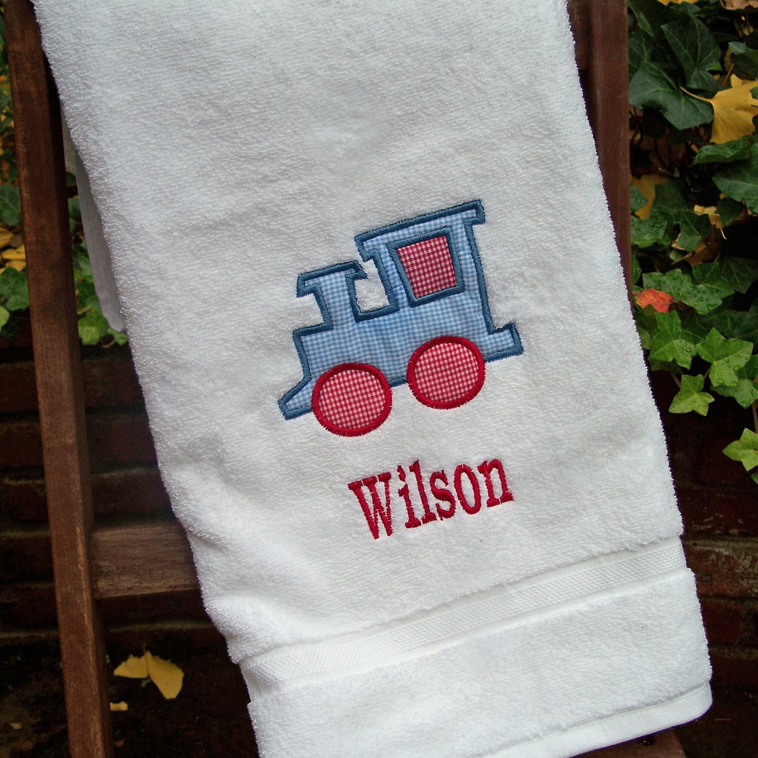 Monogrammed Kids Bath Towel With Train Applique By