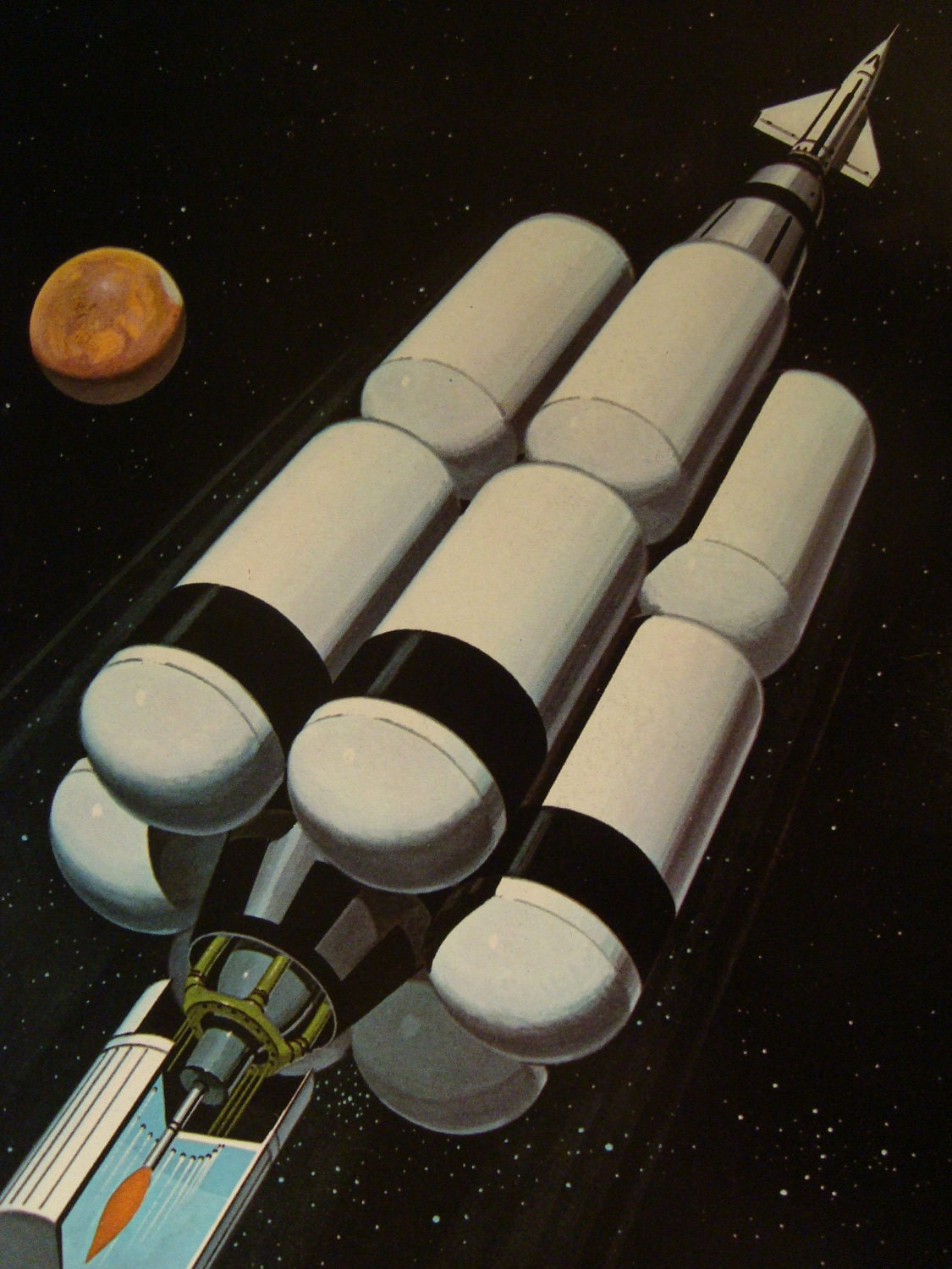 Mars bound rocket vintage outer space original print by for Retro outer space