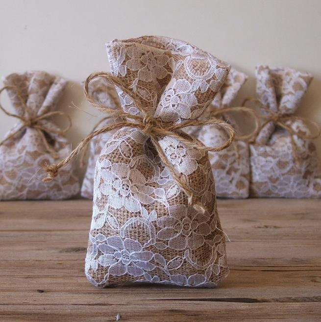 Burlap favor bags(50 pc) rustic wedding favor bag (3x5inch) burlap ...