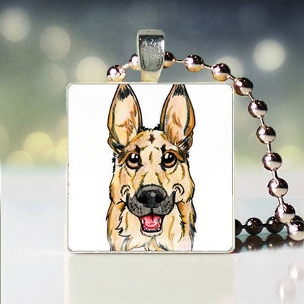 Scrabble tile pendant charm of German Shepard Dogicature