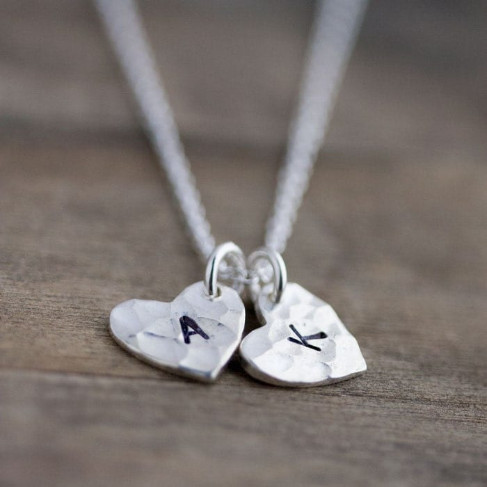 Monogram Double Heart Personalized Necklace / Two Initial Hand Stamped Charms in Sterling Silver / Choose 2 Letters - burnish