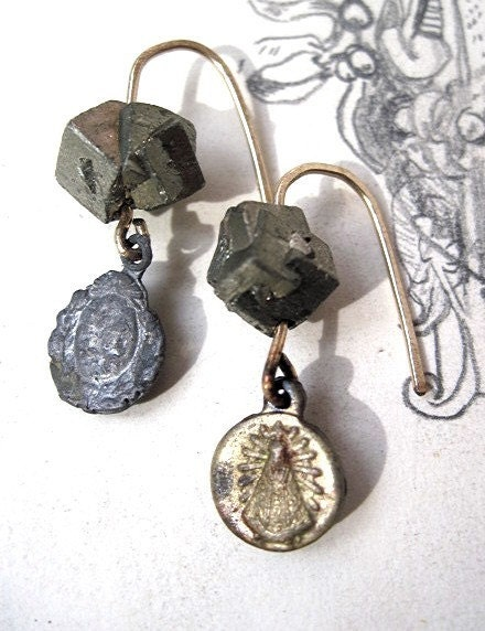 Wrath of Heaven. Pyrite and Gold Religious Medal Earrings.