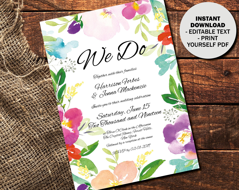 Wedding Invitation Template Printable Wedding Invite Wedding Reception Invite Floral Watercolor Editable PDF Invite Border 1 INV1