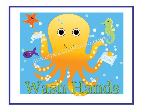 Sea Life Bath Octopus Crab Art Print Set by sweetpeasartstudio2