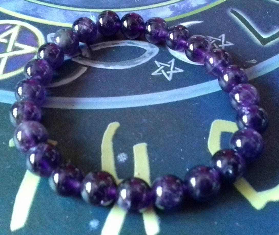 Rich Amethyst Energy Charged Crystal Stretch Bracelet  Crystal Healing Spirituality Psychic Protection Crown Chakra February Birthstone