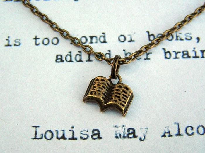 Book Necklace Louisa May Alcott Quote Classic Literature