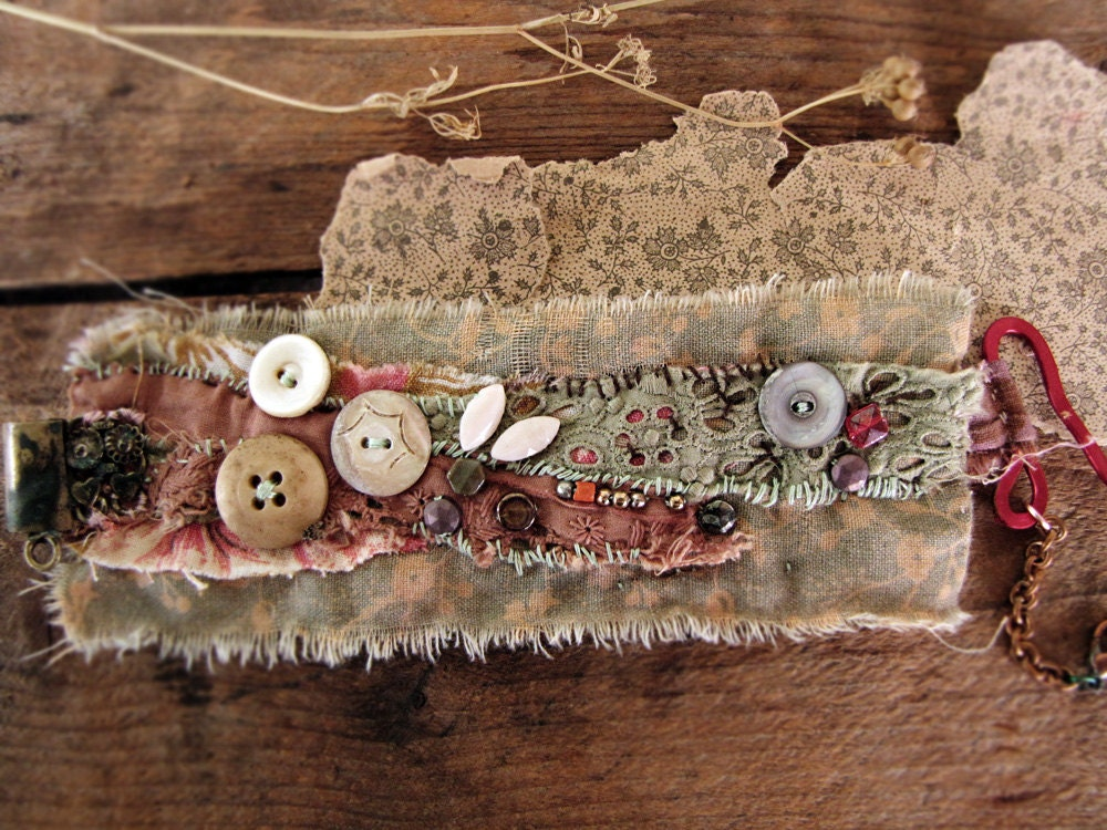 Wallflowers - salvage textile wristcuff - vintage lace - vintage button details