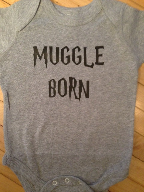 Cute Harry Potter Muggle Born Baby Onesie- Choose Your Color. Choose Your Size.
