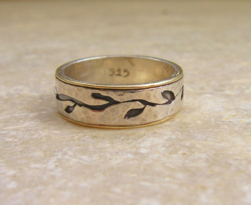 Wedding Band For men Leaves On Sterling Silver and 14k Gold