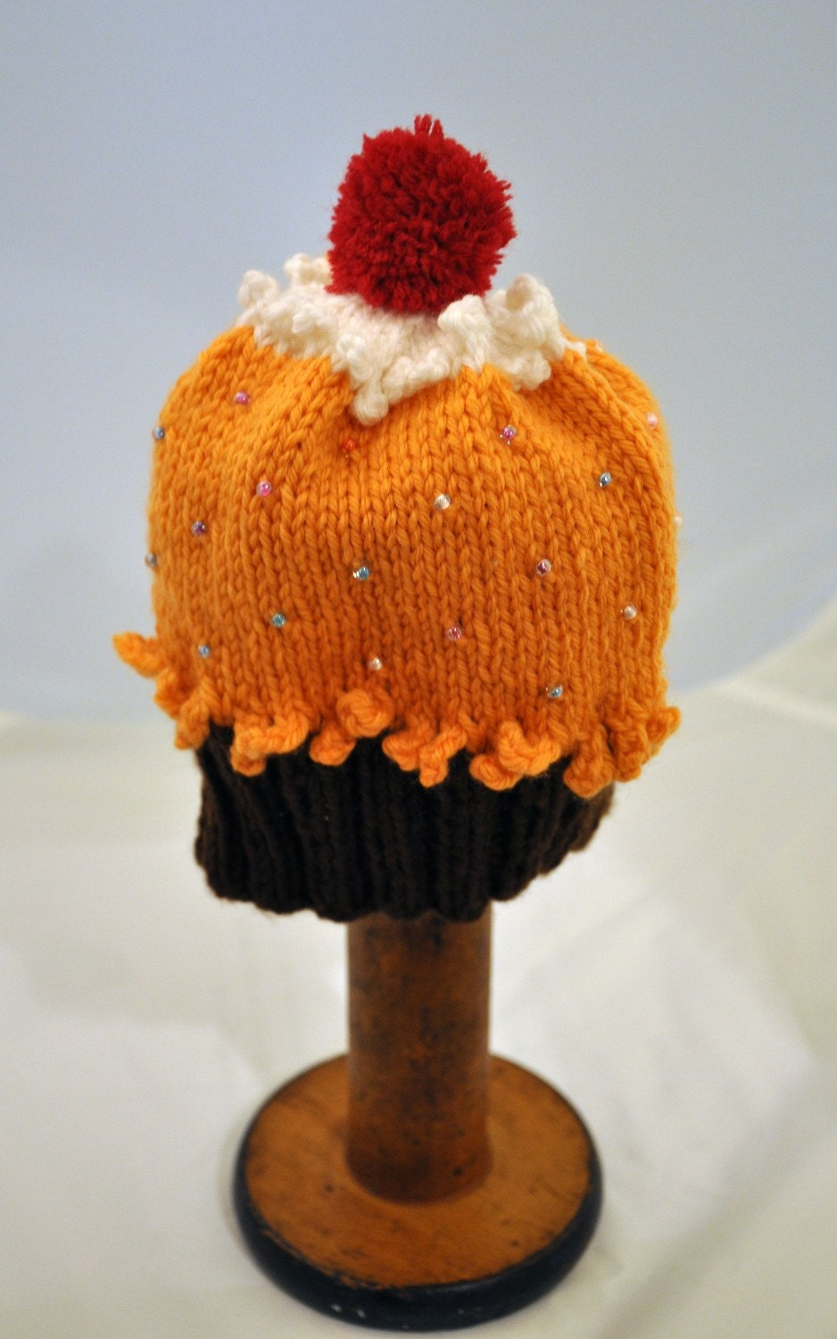 Beaded Cupcake Hat - Infant Size, Orange