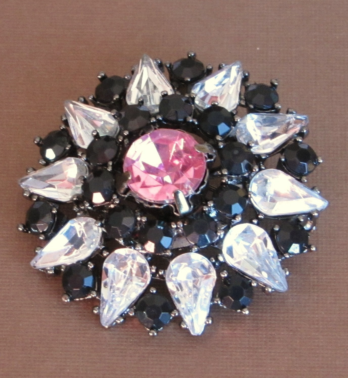 SALE Vintage, Antique, Brooch, Pin, Rhinestones, Crystals, Black, Pink, Clear, Wedding, Wedding Jewelry, www.jodaycraf.etsy.com