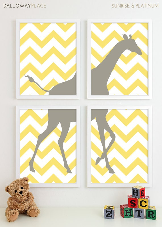 Modern Nursery Art Chevron Giraffe Nursery By
