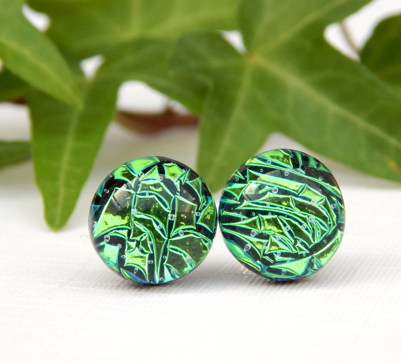 Emerald Green Dichroic Glass Sterling Silver Stud Earrings Kelly Green Art Glass Post Earrings Fused Glass Jewelry St Patricks Day Studs
