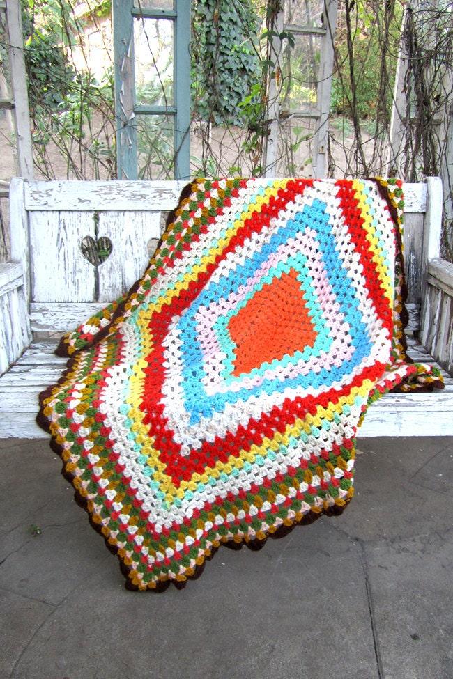 Vintage CROCHETED Throw Blanket BOHO GRANNY Multicolored Vintage Clothing by TatiTati Vintage on Etsy