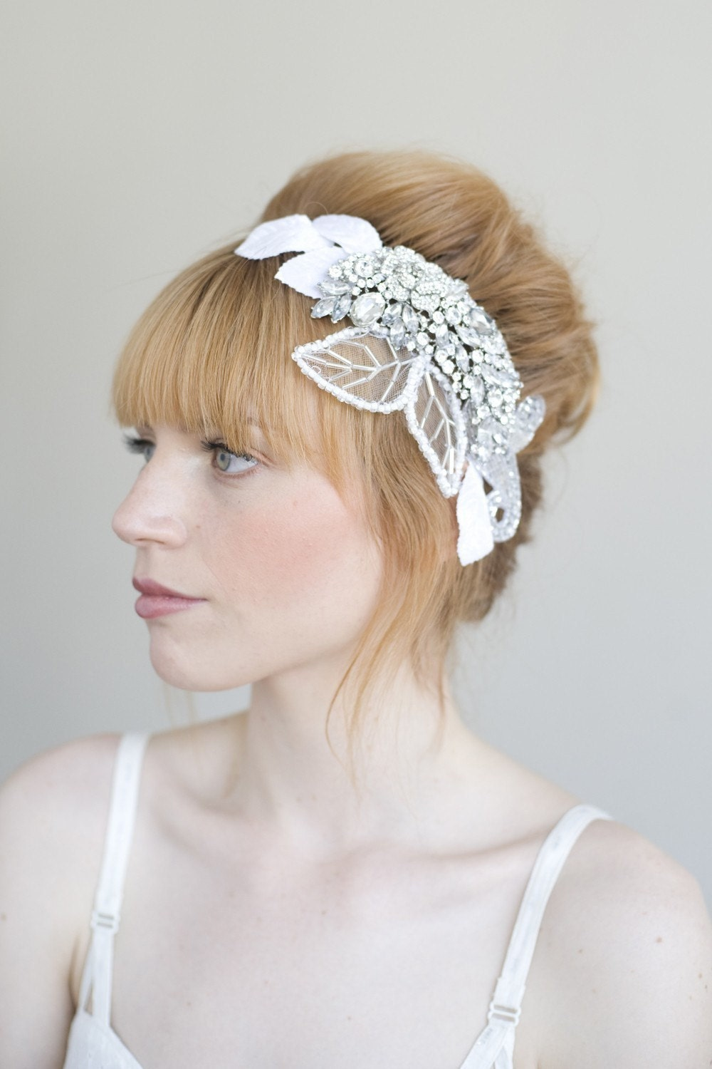 Crystal, tulle and velvet head piece - Style 010 - Made to Order