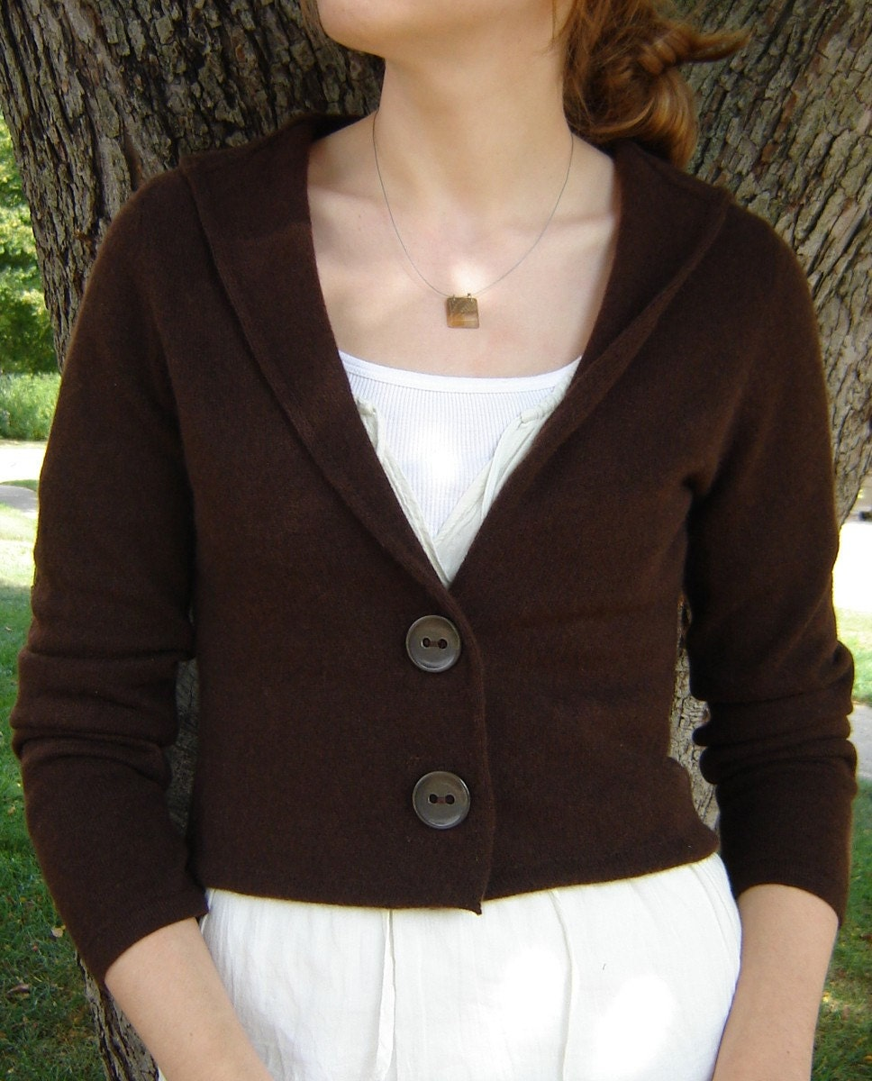Repurposed Cashmere Cardigan - Chocolate Brown, Small