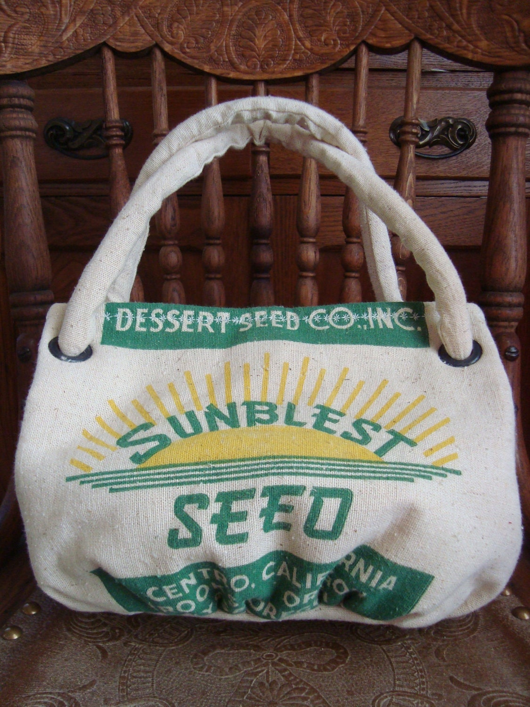 vintage SUNBLEST SEED sack purse - a Wee Carpetbag
