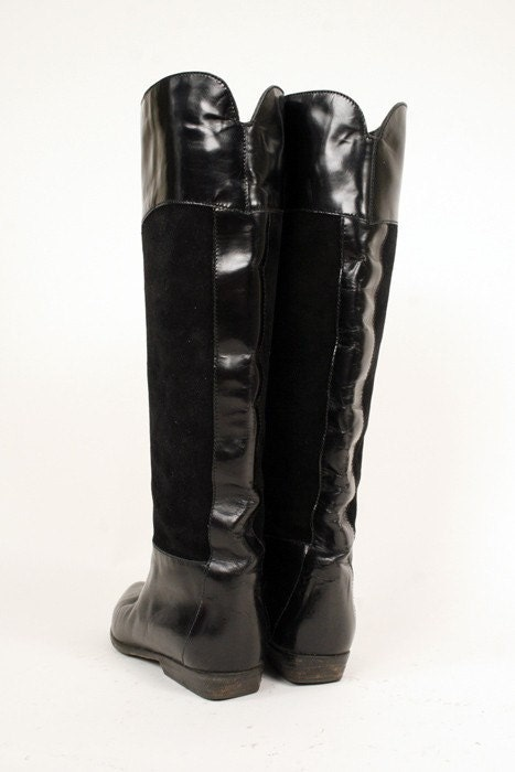 Sz 6 Black ITALIAN Leather and Suede Charles David Boots