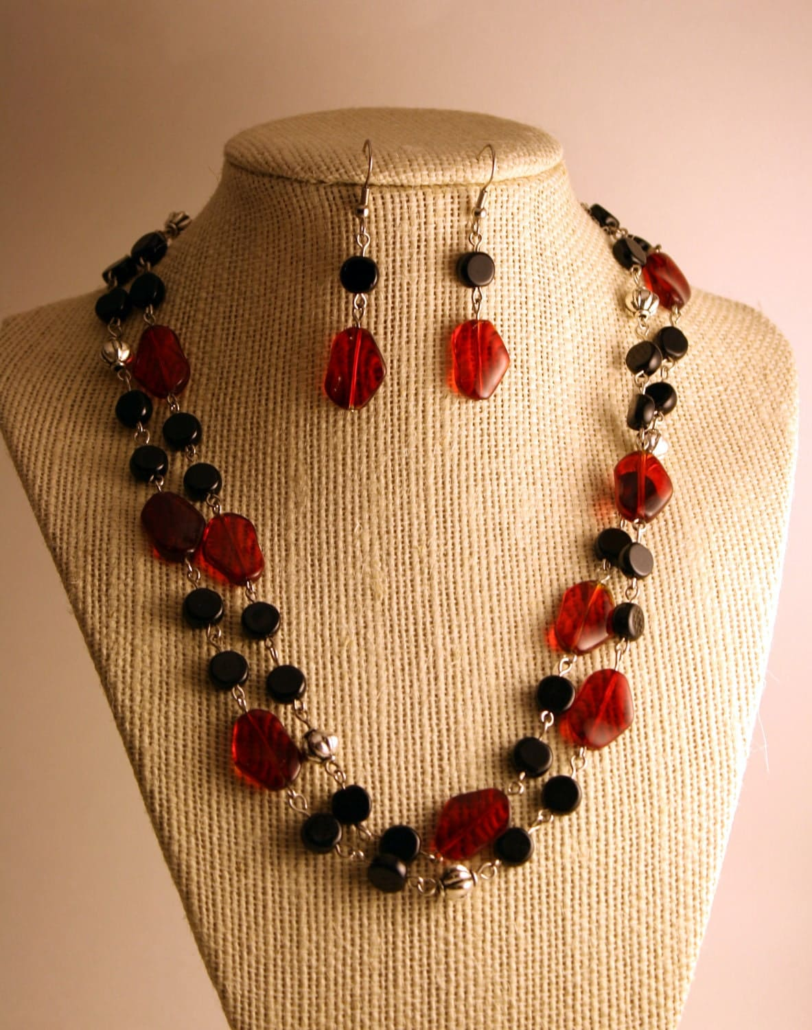 SALE Necklace and Earring Set - Red and Black