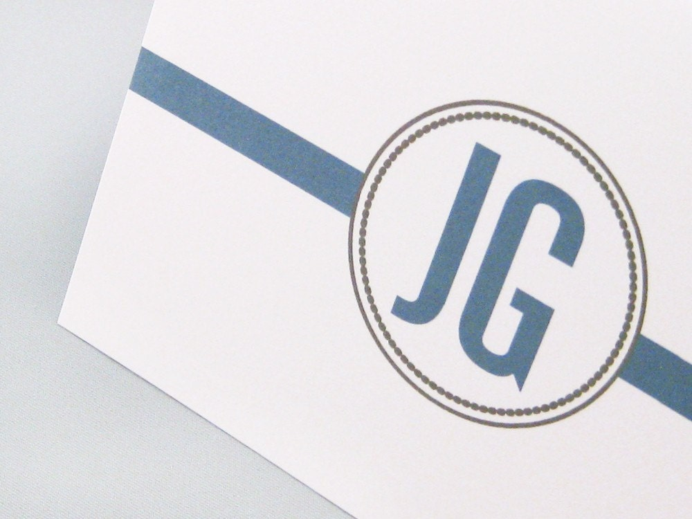 Circle Stripe Initials Cards - Set of 12