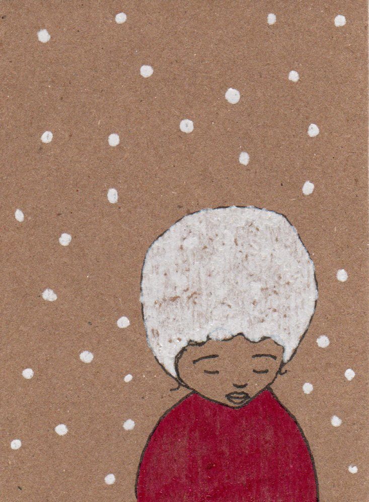 Original ACEO Illustration on Brown Kraft Card 'Forlorn'