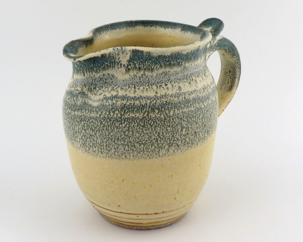 Pottery Pitcher- Marbled Green & Yellow - 28 oz (3 1/2 cups) /handmade wheel thrown pottery