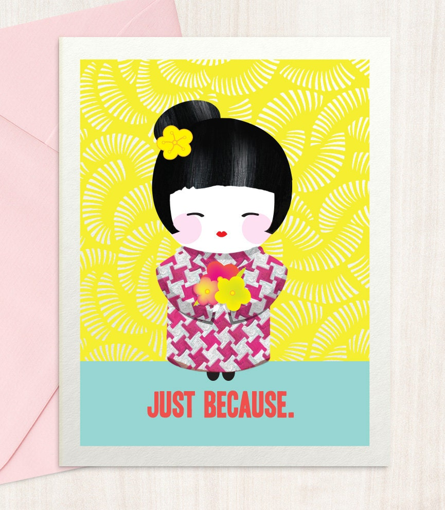 Just Because Thank You Card By Blingbebe On Etsy