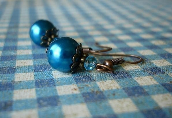 Teal Blue Glass Pearl Beaded Earrings