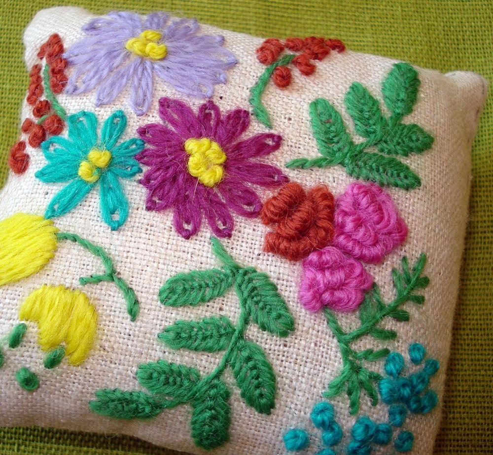 Floral Pin Cushion - Hand Embroidered