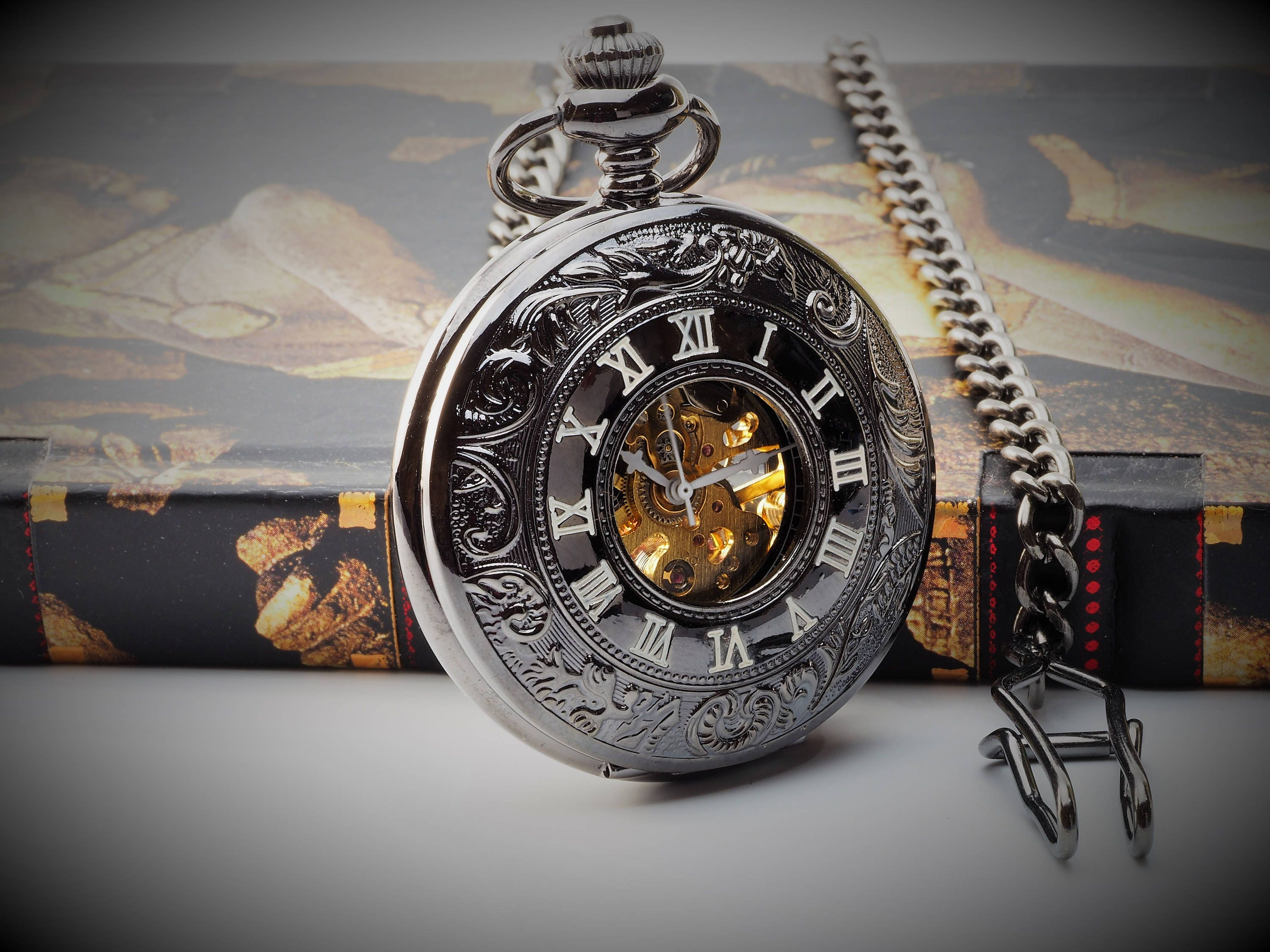 Antique Glass Engraved Black Skeleton Pocket Watch  Gift Boxed PW3G